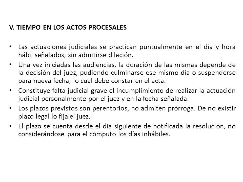 V. TIEMPO EN LOS ACTOS PROCESALES Las actuaciones judiciales se practican puntualmente en el día y hora hábil señalados, sin admitirse dilación. Una v