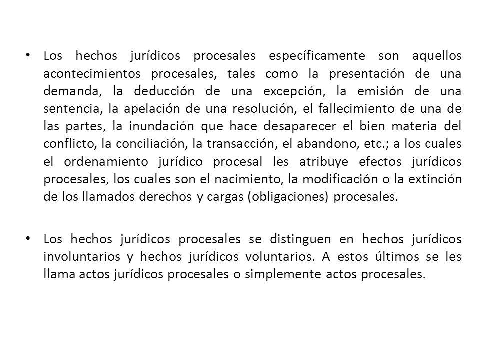 Los hechos jurídicos procesales específicamente son aquellos acontecimientos procesales, tales como la presentación de una demanda, la deducción de un
