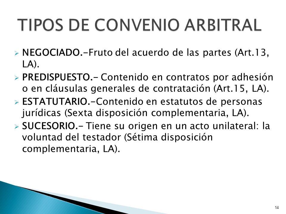 NEGOCIADO.-Fruto del acuerdo de las partes (Art.13, LA). PREDISPUESTO.- Contenido en contratos por adhesión o en cláusulas generales de contratación (