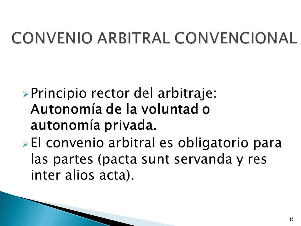Principio rector del arbitraje: Autonomía de la voluntad o autonomía privada. El convenio arbitral es obligatorio para las partes (pacta sunt servanda