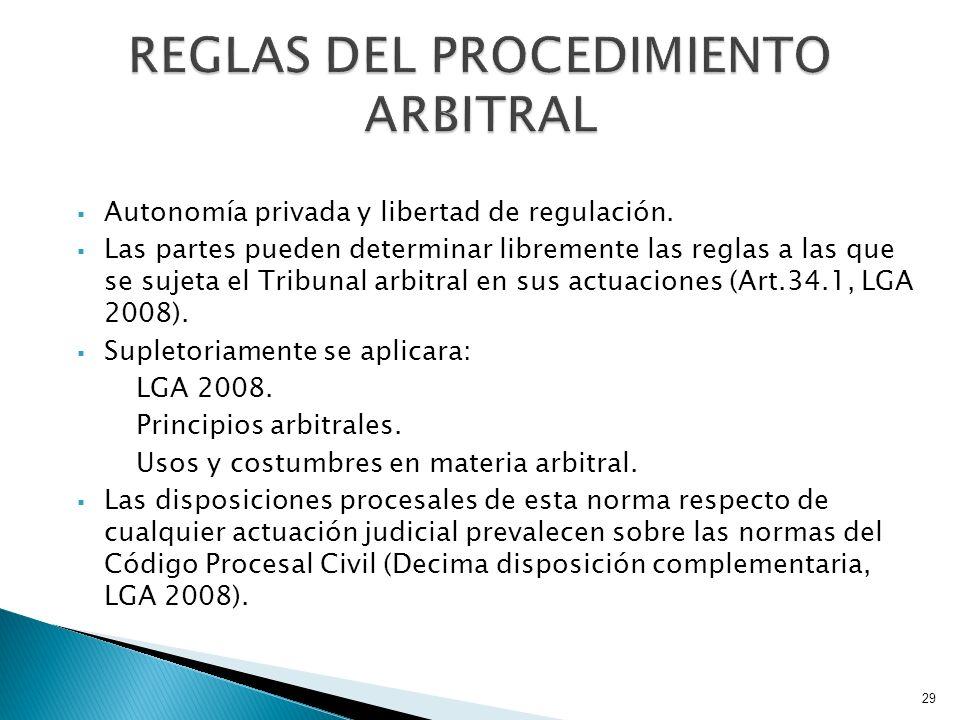 Autonomía privada y libertad de regulación. Las partes pueden determinar libremente las reglas a las que se sujeta el Tribunal arbitral en sus actuaci