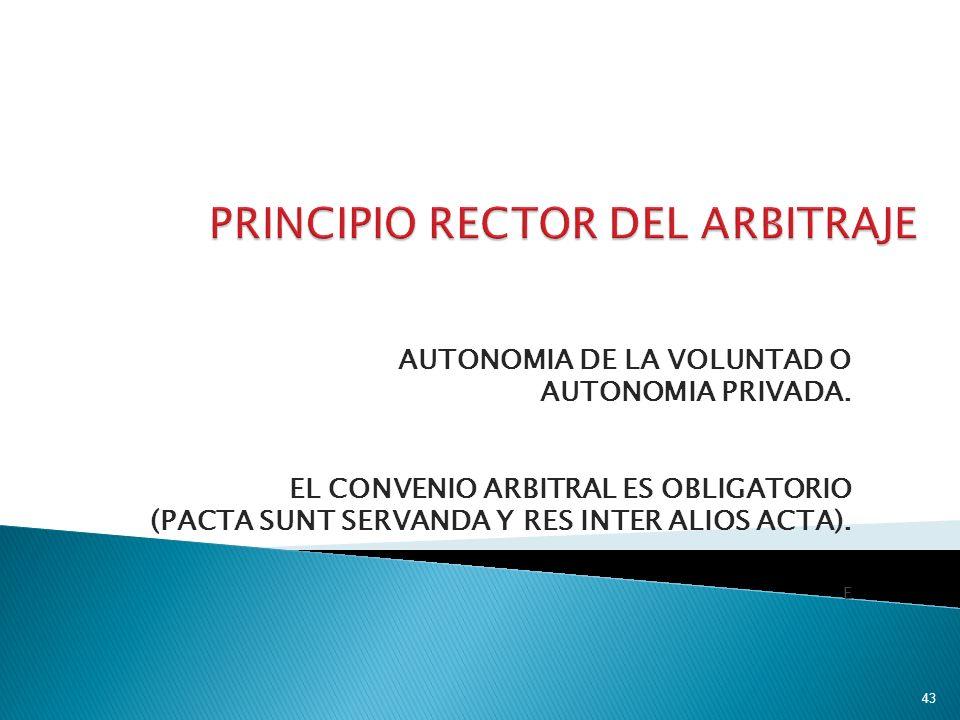 AUTONOMIA DE LA VOLUNTAD O AUTONOMIA PRIVADA. EL CONVENIO ARBITRAL ES OBLIGATORIO (PACTA SUNT SERVANDA Y RES INTER ALIOS ACTA). E 43