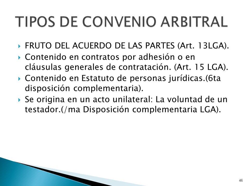 FRUTO DEL ACUERDO DE LAS PARTES (Art. 13LGA). Contenido en contratos por adhesión o en cláusulas generales de contratación. (Art. 15 LGA). Contenido e
