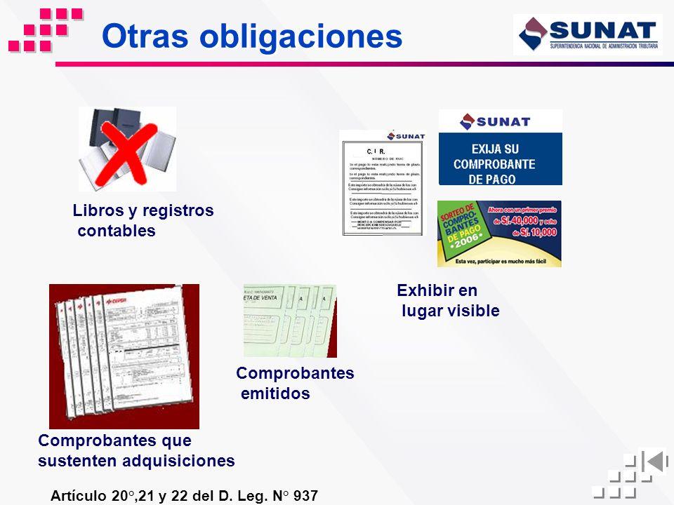 Otras obligaciones Artículo 20°,21 y 22 del D. Leg. N° 937 Libros y registros contables Exhibir en lugar visible Comprobantes emitidos Comprobantes qu