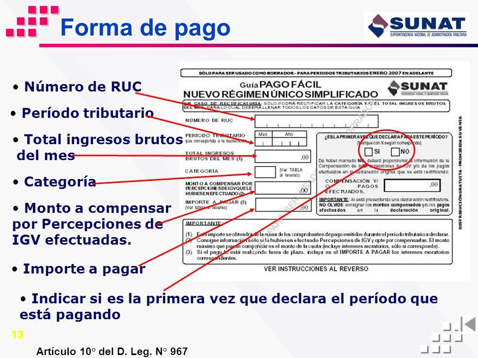 Forma de pago Artículo 10° del D. Leg. N° 967 Número de RUC Período tributario Indicar si es la primera vez que declara el período que está pagando To