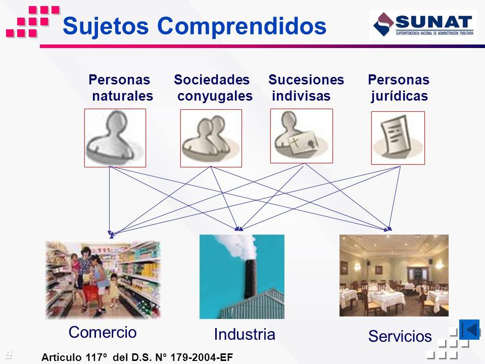 Sujetos Comprendidos Artículo 117º del D.S. N° 179-2004-EF Personas naturales Sociedades conyugales Sucesiones indivisas Personas jurídicas Comercio I