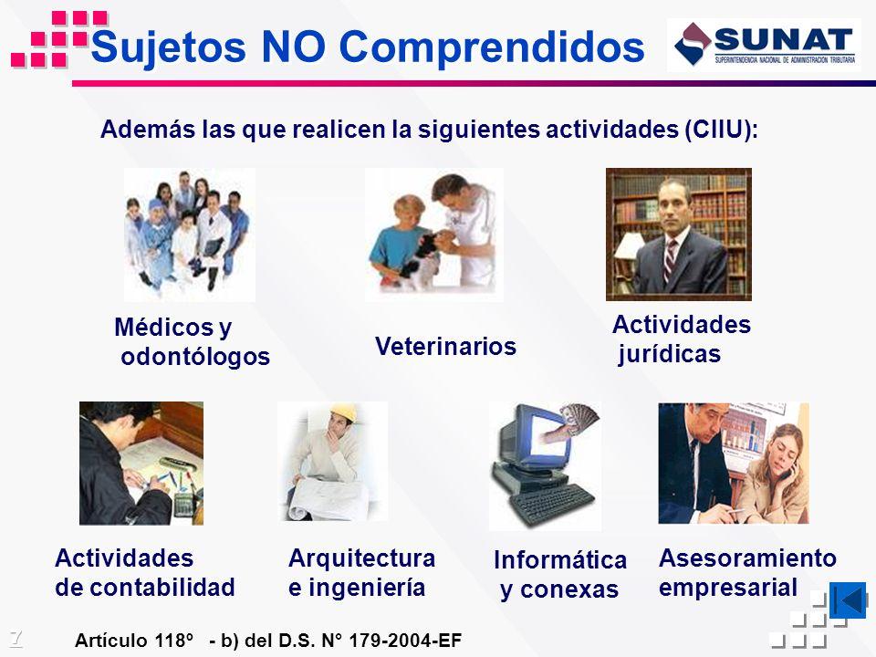 Sujetos NO Comprendidos Artículo 118º - b) del D.S. N° 179-2004-EF Médicos y odontólogos Veterinarios Actividades jurídicas Actividades de contabilida