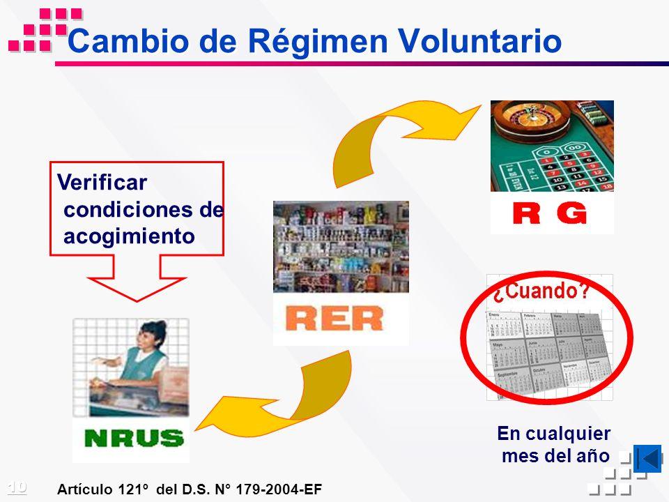 Cambio de Régimen Voluntario Artículo 121º del D.S. N° 179-2004-EF En cualquier mes del año Verificar condiciones de acogimiento