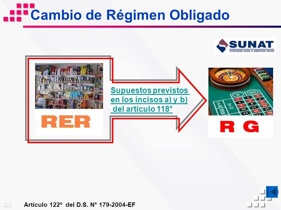Cambio de Régimen Obligado Artículo 122º del D.S. N° 179-2004-EF Supuestos previstos en los incisos a) y b) del artículo 118°