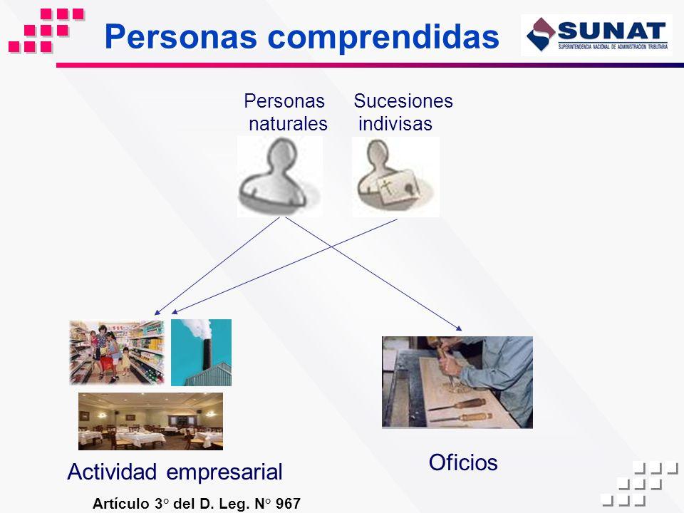 Personas comprendidas Artículo 3° del D. Leg. N° 967 Personas naturales Sucesiones indivisas Actividad empresarial Oficios