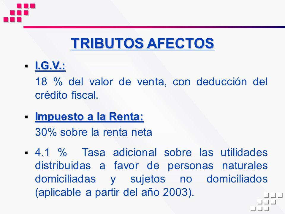 TRIBUTOS AFECTOS I.G.V.: I.G.V.: 18 % del valor de venta, con deducción del crédito fiscal. Impuesto a la Renta: Impuesto a la Renta: 30% sobre la ren