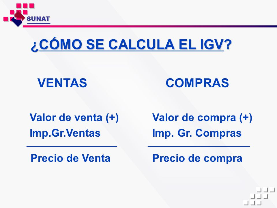 ¿CÓMO SE CALCULA EL IGV? VENTAS COMPRAS Valor de venta (+) Valor de compra (+) Imp.Gr.Ventas Imp. Gr. Compras ______________________________ _________