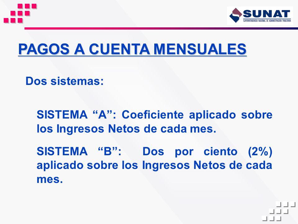 PAGOS A CUENTA MENSUALES Dos sistemas: SISTEMA A: Coeficiente aplicado sobre los Ingresos Netos de cada mes. SISTEMA B: Dos por ciento (2%) aplicado s