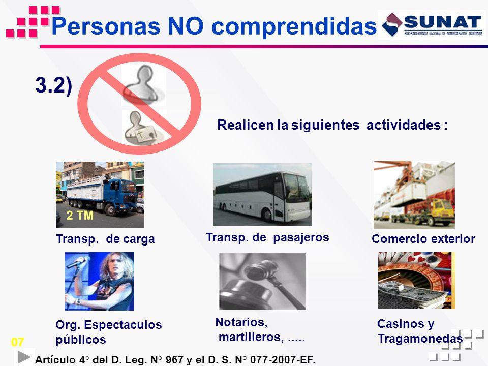 Personas NO comprendidas Realicen la siguientes actividades : 3.2) Transp. de carga Notarios, martilleros,..... Org. Espectaculos públicos Artículo 4°