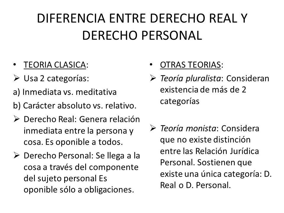 DERECHO REAL DERECHO PERSONAL BIENES (COSAS) PERSONAS (PRESTACIONES)