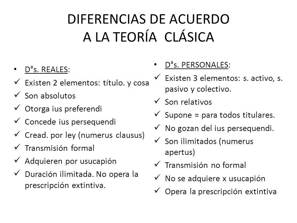 DIFERENCIA ENTRE DERECHO REAL Y DERECHO PERSONAL TEORIA CLASICA: Usa 2 categorías: a) Inmediata vs. meditativa b) Carácter absoluto vs. relativo. Dere