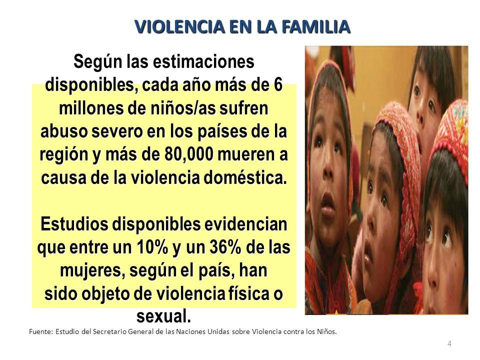 4 Según las estimaciones disponibles, cada año más de 6 millones de niños/as sufren abuso severo en los países de la región y más de 80,000 mueren a c