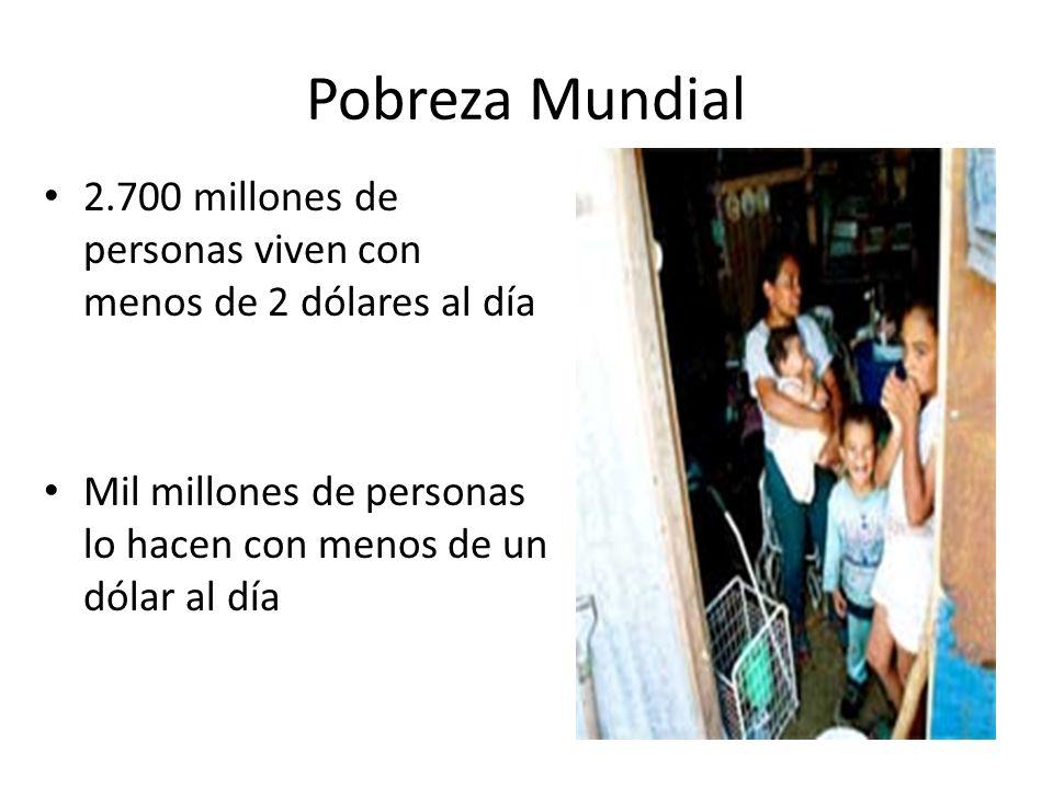 Pobreza Mundial 2.700 millones de personas viven con menos de 2 dólares al día Mil millones de personas lo hacen con menos de un dólar al día