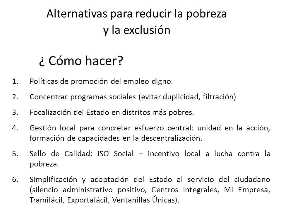 1.Políticas de promoción del empleo digno. 2.Concentrar programas sociales (evitar duplicidad, filtración) 3.Focalización del Estado en distritos más