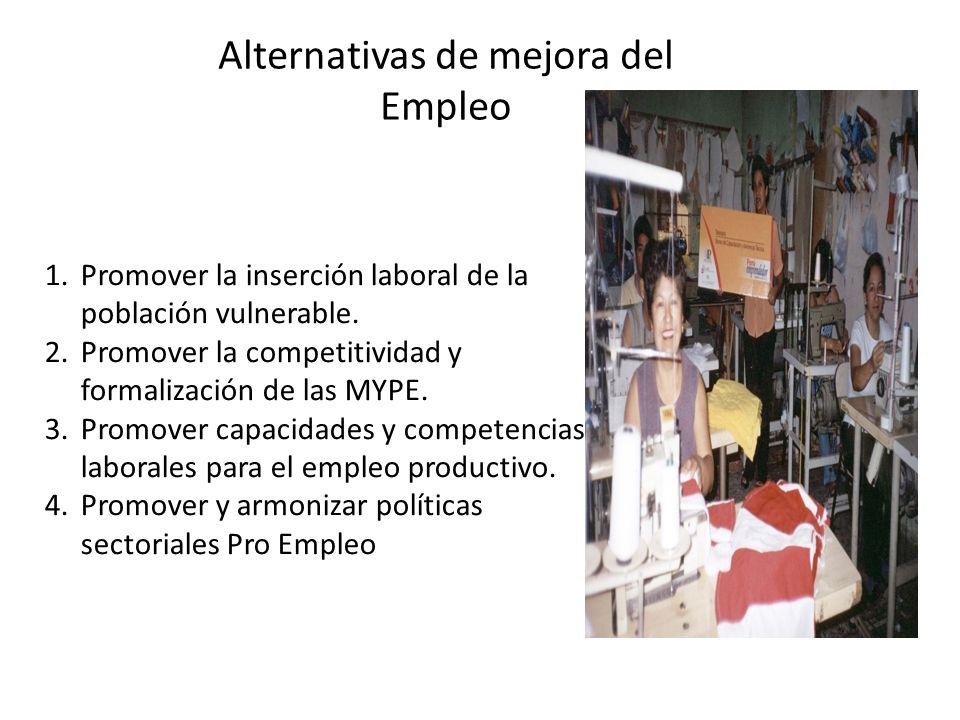 1.Promover la inserción laboral de la población vulnerable. 2.Promover la competitividad y formalización de las MYPE. 3.Promover capacidades y compete