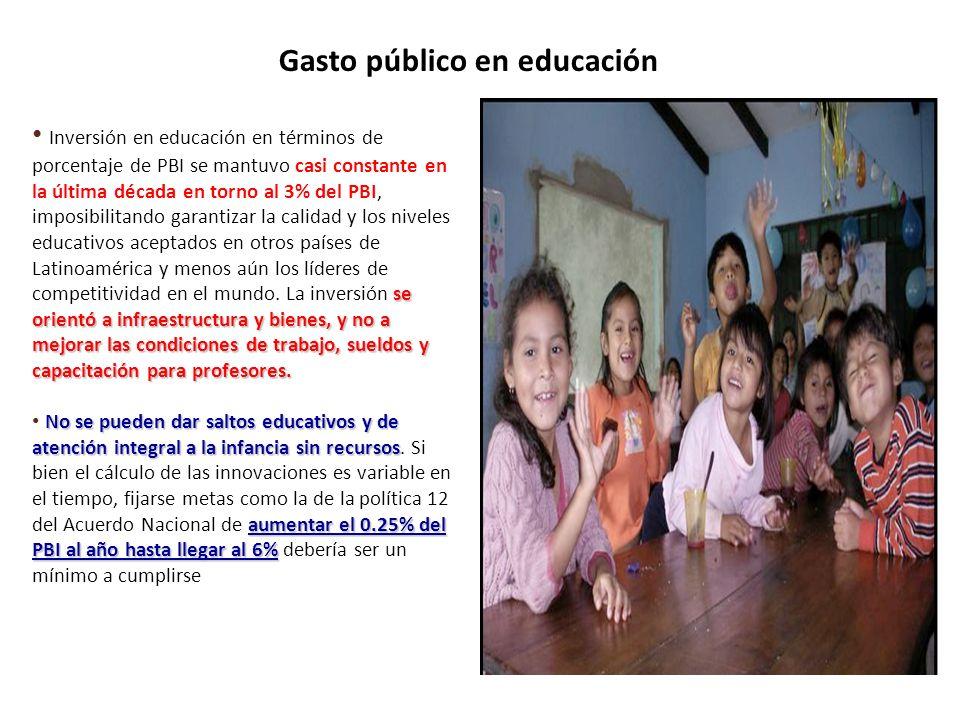 PERÚ: EVOLUCION DEL GASTO PUBLICO EN EDUCACION COMO PORCENTAJE DEL PBI (1999 – 2009) GASTO PUBLICO EN EDUCACION COMO PORCENTAJE DEL PBI (2006) Nota: Calculado en base a presupuesto inicial asignado (PIA) a la función educación y cultura respecto del PBI, para el periodo 1999 – 2009.