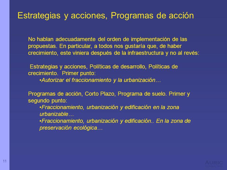 11 Auric consulting Estrategias y acciones, Programas de acción No hablan adecuadamente del orden de implementación de las propuestas. En particular,