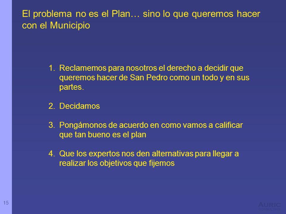 15 Auric consulting El problema no es el Plan… sino lo que queremos hacer con el Municipio 1.Reclamemos para nosotros el derecho a decidir que queremos hacer de San Pedro como un todo y en sus partes.
