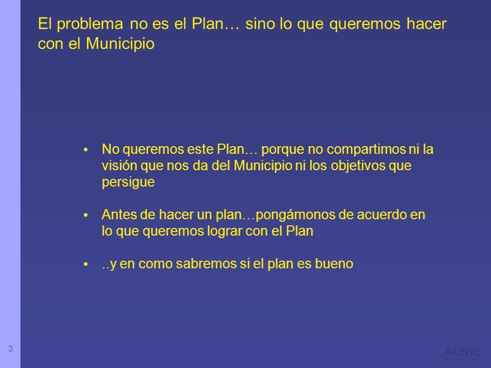 3 Auric consulting El problema no es el Plan… sino lo que queremos hacer con el Municipio No queremos este Plan… porque no compartimos ni la visión que nos da del Municipio ni los objetivos que persigue Antes de hacer un plan…pongámonos de acuerdo en lo que queremos lograr con el Plan..y en como sabremos si el plan es bueno