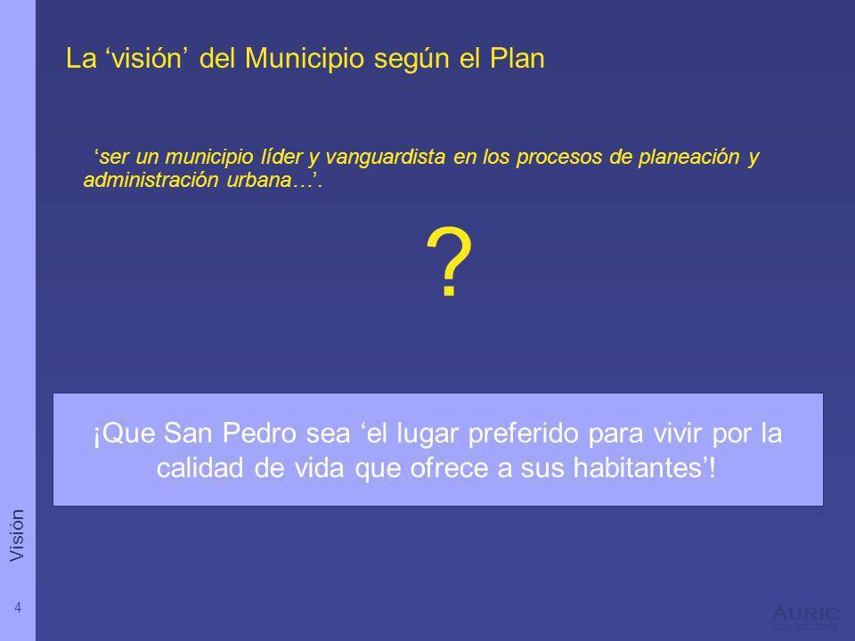 4 Auric consulting ¡Que San Pedro sea el lugar preferido para vivir por la calidad de vida que ofrece a sus habitantes! La visión del Municipio según