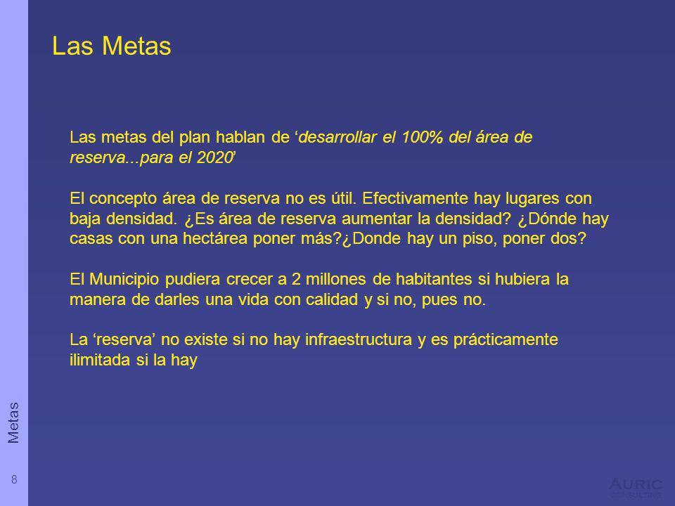 8 Auric consulting Las Metas Las metas del plan hablan de desarrollar el 100% del área de reserva...para el 2020 El concepto área de reserva no es úti