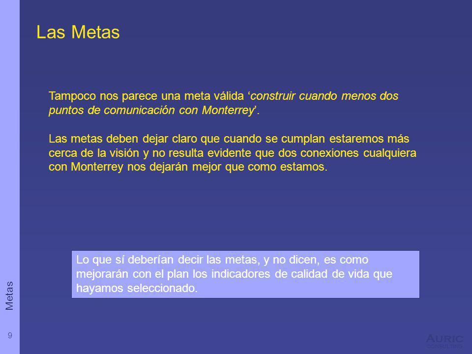 9 Auric consulting Las Metas Tampoco nos parece una meta válida construir cuando menos dos puntos de comunicación con Monterrey. Las metas deben dejar