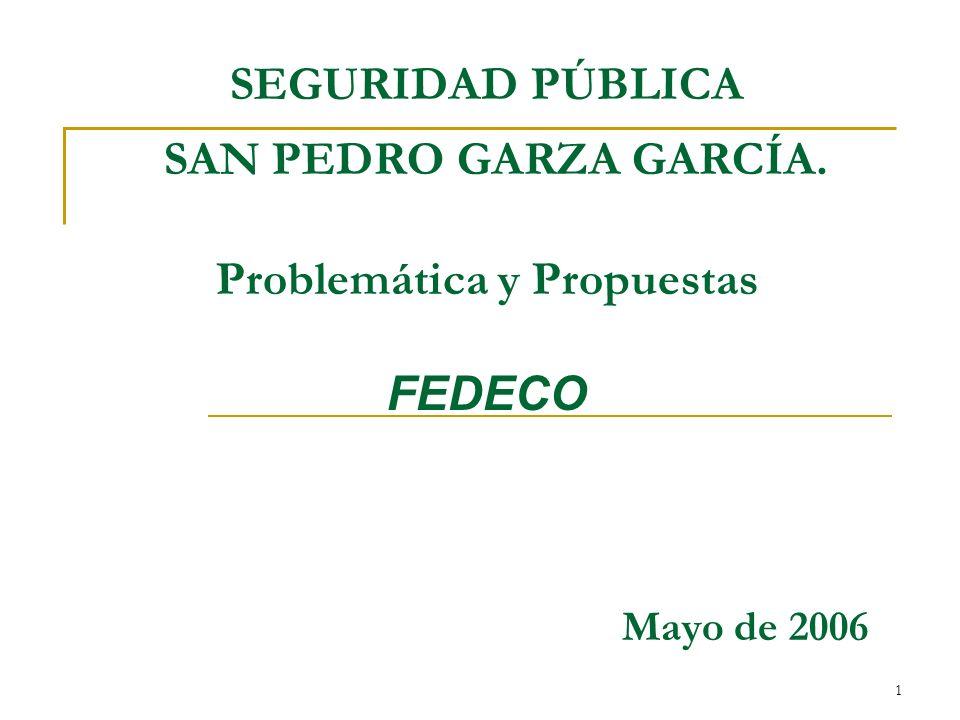 1 SEGURIDAD PÚBLICA SAN PEDRO GARZA GARCÍA. Problemática y Propuestas FEDECO Mayo de 2006