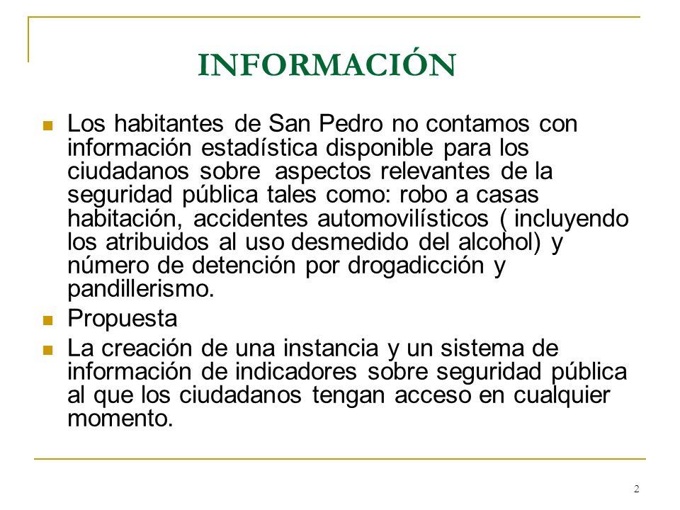 2 INFORMACIÓN Los habitantes de San Pedro no contamos con información estadística disponible para los ciudadanos sobre aspectos relevantes de la segur