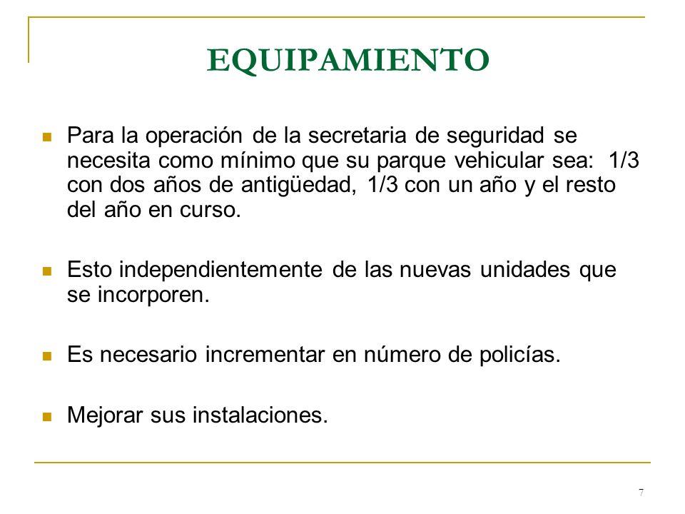 7 EQUIPAMIENTO Para la operación de la secretaria de seguridad se necesita como mínimo que su parque vehicular sea: 1/3 con dos años de antigüedad, 1/