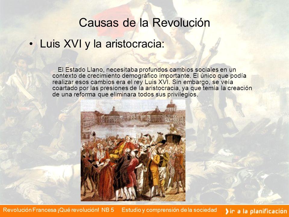 Revolución Francesa ¡Qué revolución! NB 5 Estudio y comprensión de la sociedad Causas de la Revolución Luis XVI y la aristocracia: El Estado Llano, ne