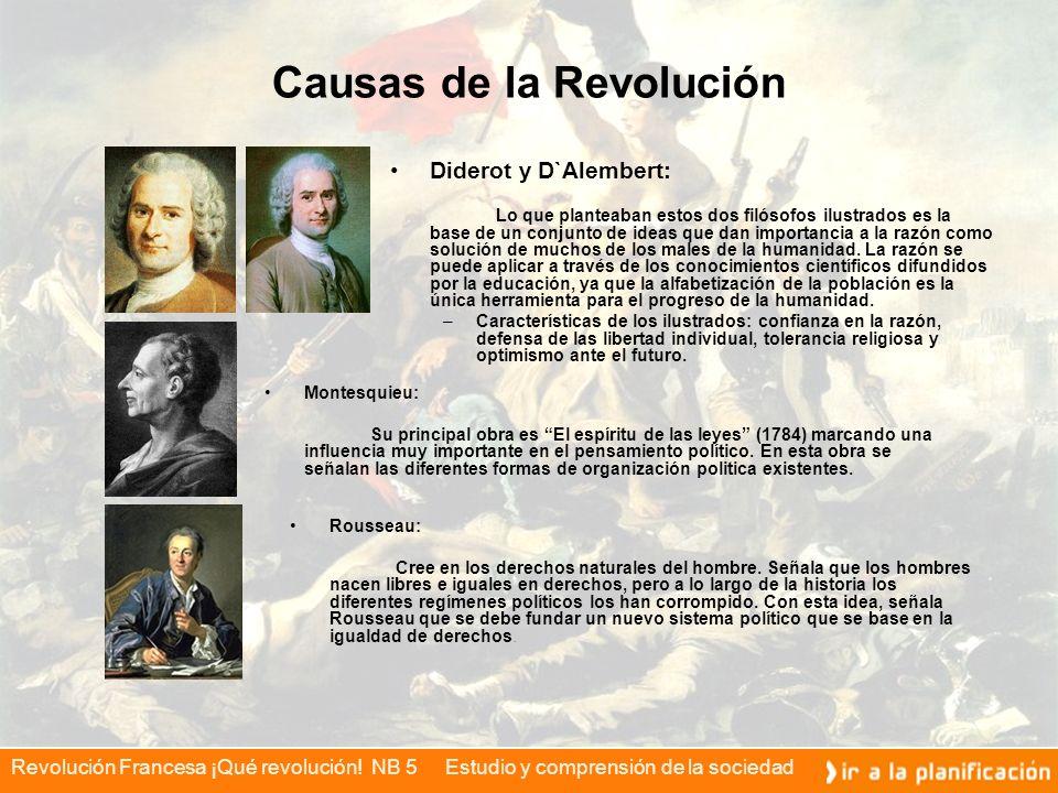 Revolución Francesa ¡Qué revolución! NB 5 Estudio y comprensión de la sociedad Causas de la Revolución Diderot y D`Alembert: Lo que planteaban estos d