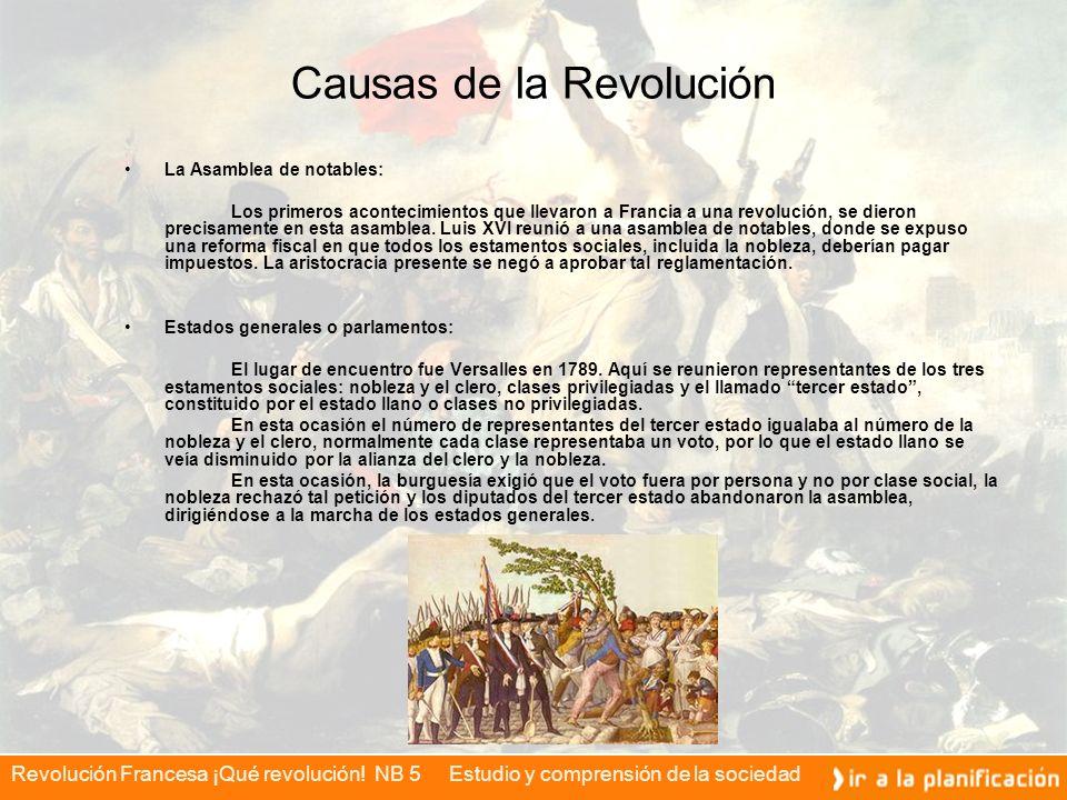Revolución Francesa ¡Qué revolución! NB 5 Estudio y comprensión de la sociedad Causas de la Revolución La Asamblea de notables: Los primeros acontecim