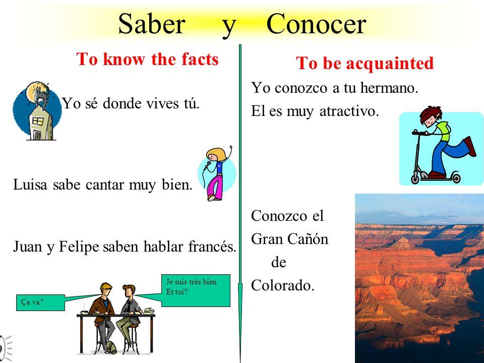 Saber y Conocer To know the facts Yo sé donde vives tú.