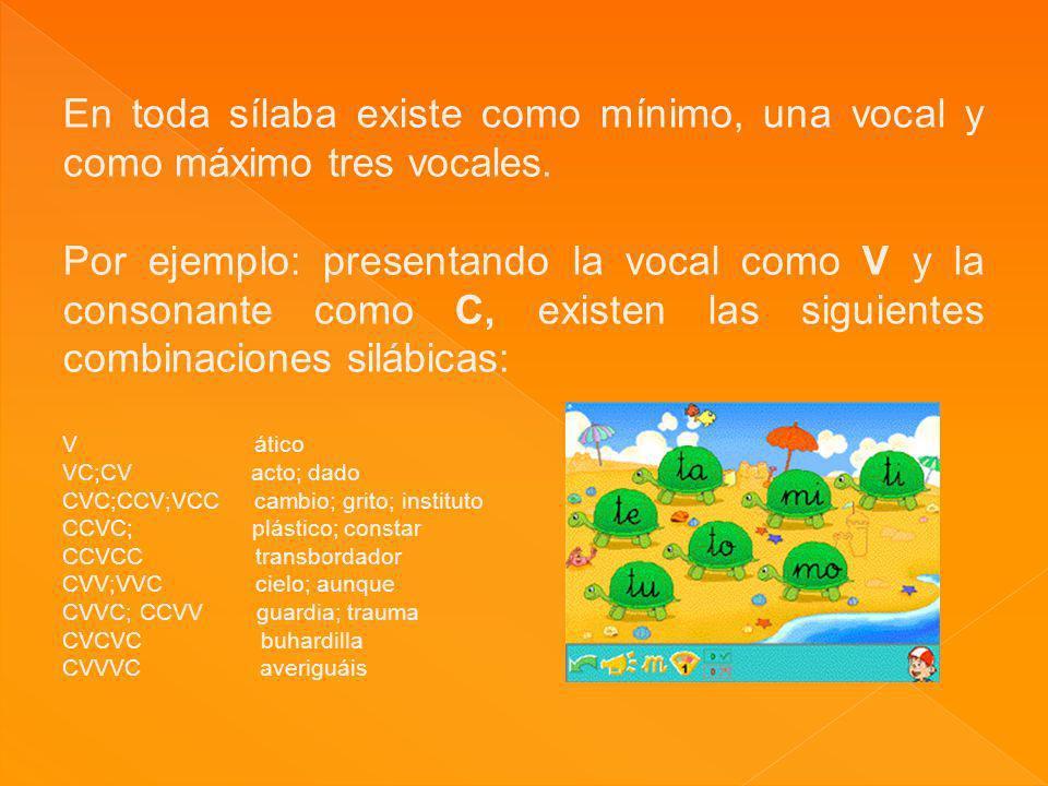 En toda sílaba existe como mínimo, una vocal y como máximo tres vocales. Por ejemplo: presentando la vocal como V y la consonante como C, existen las