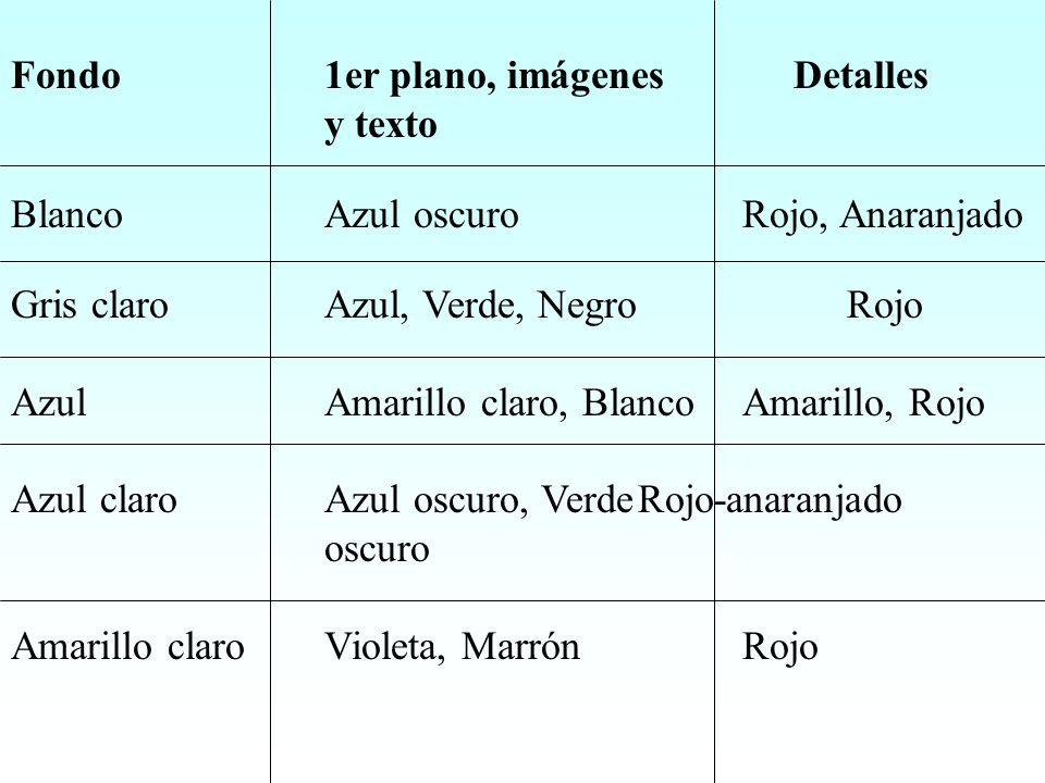Fondo1er plano, imágenes Detalles y texto BlancoAzul oscuroRojo, Anaranjado Gris claroAzul, Verde, NegroRojo AzulAmarillo claro, BlancoAmarillo, Rojo