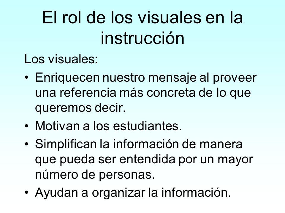 El rol de los visuales en la instrucción Los visuales: Enriquecen nuestro mensaje al proveer una referencia más concreta de lo que queremos decir. Mot