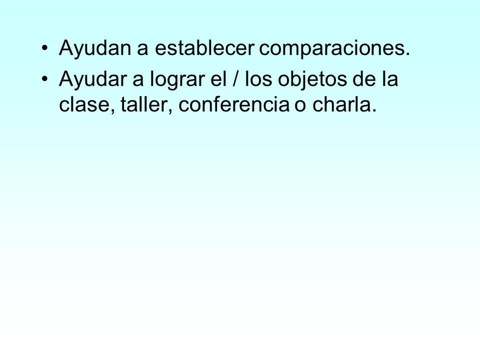 Ayudan a establecer comparaciones. Ayudar a lograr el / los objetos de la clase, taller, conferencia o charla.