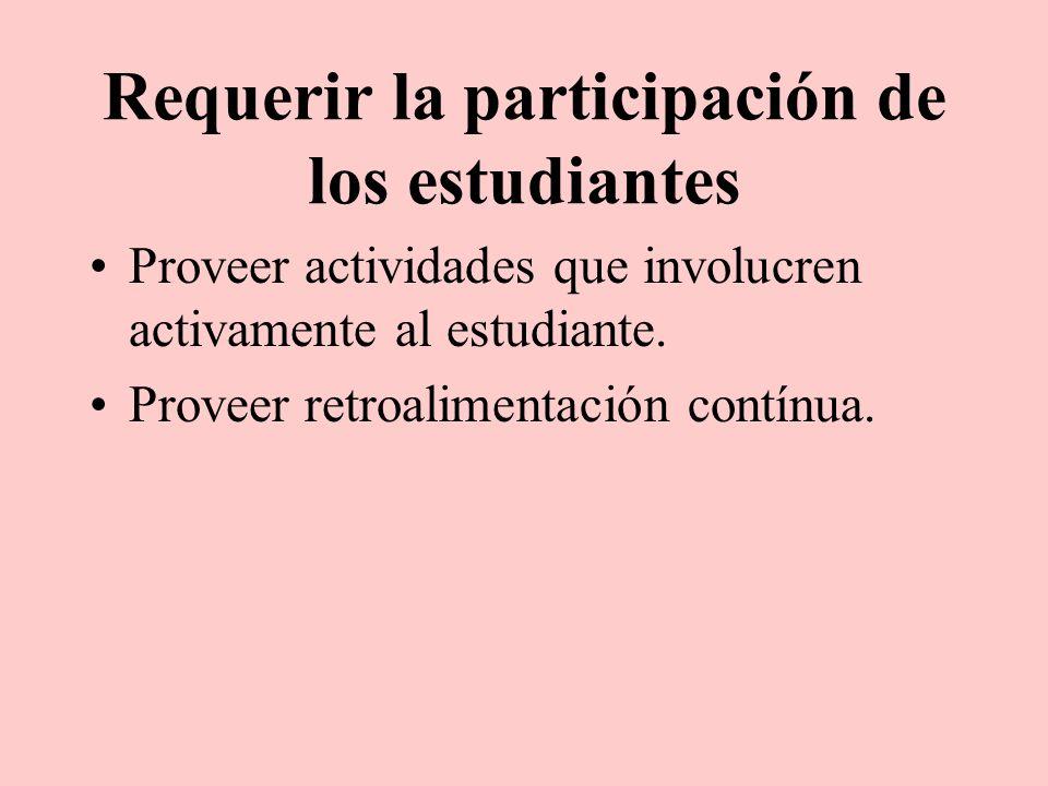 Requerir la participación de los estudiantes Proveer actividades que involucren activamente al estudiante. Proveer retroalimentación contínua.