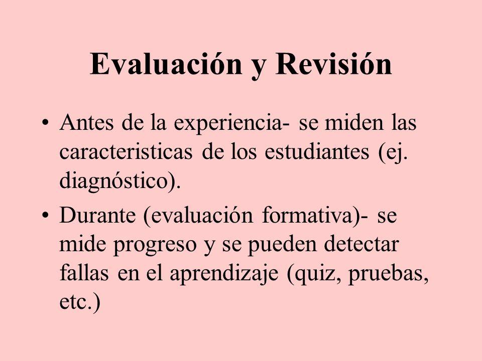 Evaluación y Revisión Antes de la experiencia- se miden las caracteristicas de los estudiantes (ej. diagnóstico). Durante (evaluación formativa)- se m