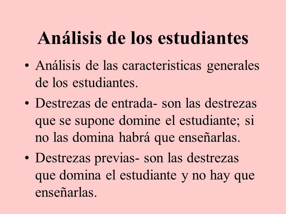 Análisis de los estudiantes Análisis de las caracteristicas generales de los estudiantes. Destrezas de entrada- son las destrezas que se supone domine