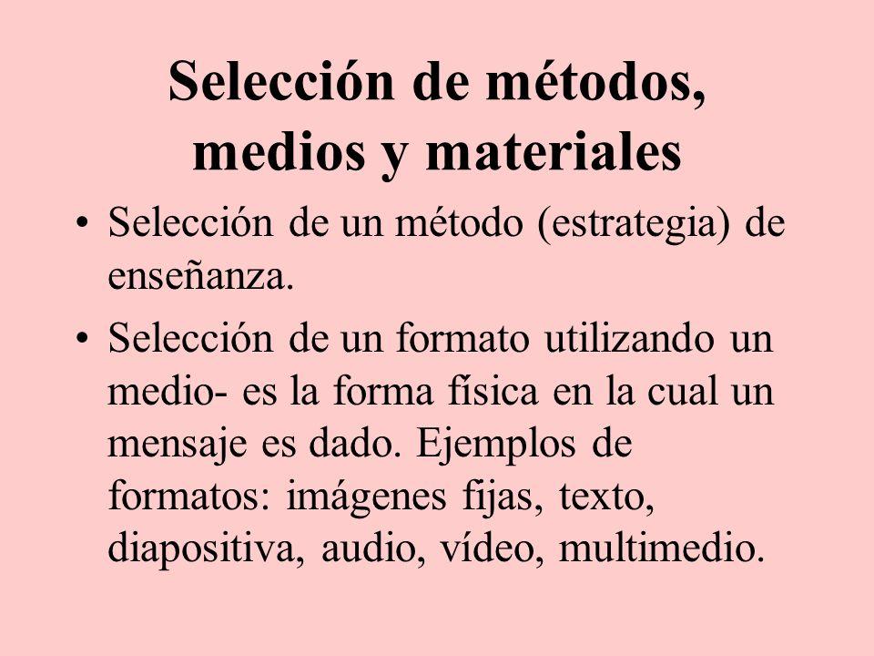 Selección de métodos, medios y materiales Selección de un método (estrategia) de enseñanza. Selección de un formato utilizando un medio- es la forma f