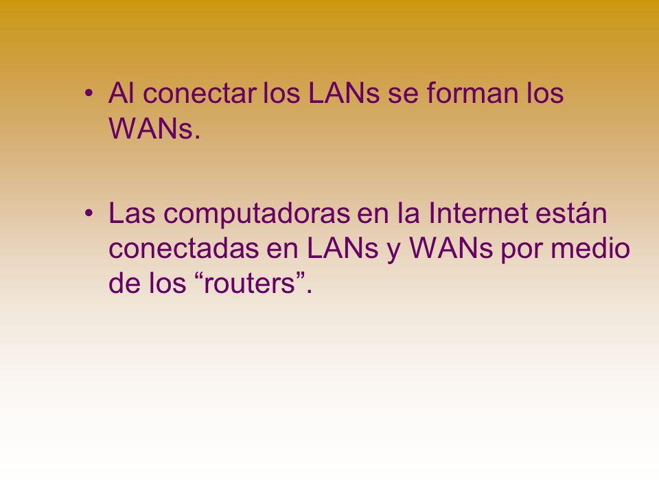 Al conectar los LANs se forman los WANs.