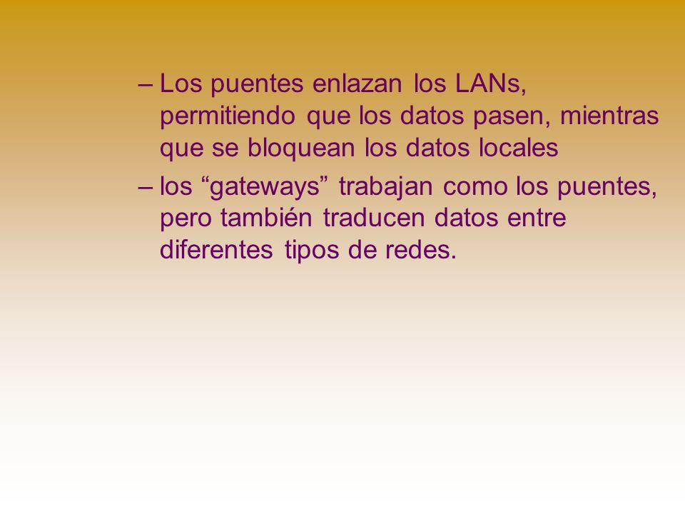 –Los puentes enlazan los LANs, permitiendo que los datos pasen, mientras que se bloquean los datos locales –los gateways trabajan como los puentes, pero también traducen datos entre diferentes tipos de redes.