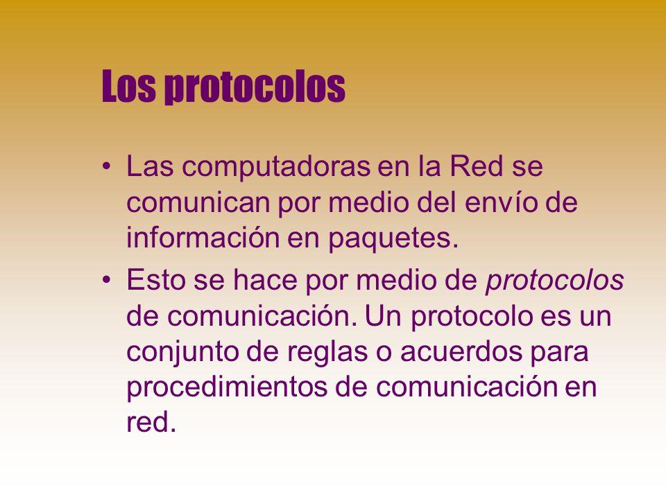 Los protocolos Las computadoras en la Red se comunican por medio del envío de información en paquetes.