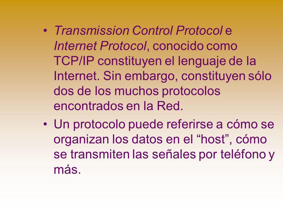 Transmission Control Protocol e Internet Protocol, conocido como TCP/IP constituyen el lenguaje de la Internet.